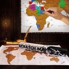 Scratch Map, Jouw persoonlijke wereldkaart! Laat aan iedereen zien waar je geweest bent door simpel weg de bestemmingen weg te krassen.