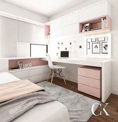 FOR EVERYTHING for this kitchen! What a beautiful combination of gold, rose and – Zimmer deko ideen - Diy Furniture Girl Bedroom Designs, Room Ideas Bedroom, Small Room Bedroom, Girls Bedroom, Bedroom Decor, Master Bedroom, Bedroom With Office, Bedroom With Vanity, Small Apartment Bedrooms