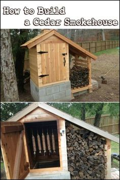 Want to smoke your own meat? Why not build yourself a cedar smokehouse! Smoke House Plans, Smoke House Diy, Farm Plans, Shed Plans, Diy Smoker, Homemade Smoker, Backyard Smokers, Build Your Own Shed, Smoke Grill