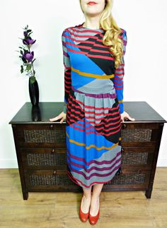 VINTAGE 80s UNIQUE BOLD GEOMETRIC PRINT LONG SLEEVE DRESS STRIKING 14
