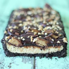 Loaded chocolate peanut butter cheesecake tart.
