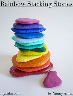 Rainbow stacking stones are great to use as an activity to help calm down children and to use as building pieces in imaginative play.