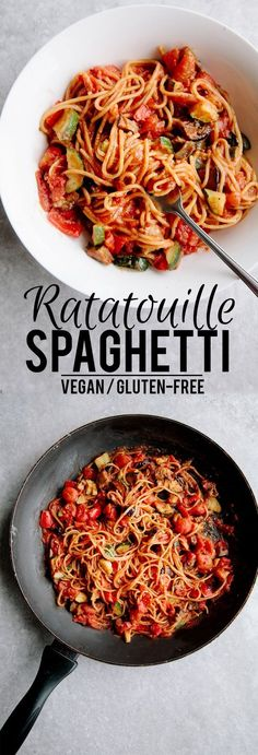 One-Pot Ratatouille Spaghetti (Vegan + G. - One-Pot Ratatouille Spaghetti (Vegan + GF) - Veggie Recipes, Whole Food Recipes, Diet Recipes, Cooking Recipes, Healthy Recipes, Cooking Time, Healthy Vegan Recipes, Healthy Foods, Veggie Meals