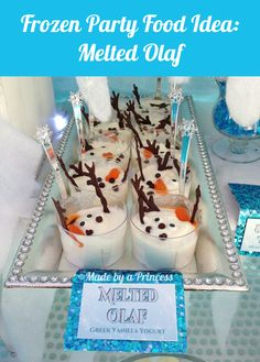Made by a Princess Parties in Style: {Recipe} Frozen Party Food Melted Olaf Frozen Party Food, Disney Frozen Party, Frozen Themed Birthday Party, Olaf Frozen, 4th Birthday Parties, Birthday Ideas, Frozen Themed Food, Theme Parties, Party Themes