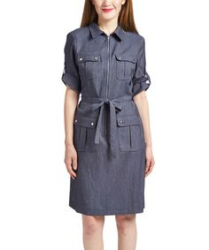 Loving this Dark Indigo Zip-Front Shirt Dress on #zulily! #zulilyfinds