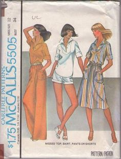 MOMSPatterns Vintage Sewing Patterns - McCall's 5505 Vintage 70's Sewing Pattern SWELL Casual Wing Collar Inset Button Loop Blouse, Top, A-Line Skirt with Band Pocksts, Cuffed Shorts & Pants Size 12
