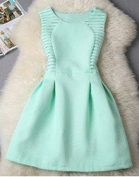 Cute Round Collar Sleeveless Spliced Solid Color Women's Dress