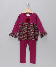 Take a look at this Berry Crocheted Ruffle Tunic & Leggings - Infant, Toddler & Girls by Kash Ten on #zulily today!
