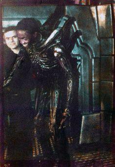 H.R Giger & Bolaji Badejo on the set on Alien.