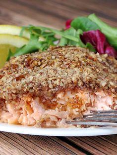 Bourbon Salmon With a Crunchy Pecan Crust | YummyAddiction.com