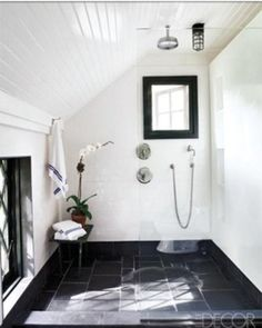 Classic White Shower with Montauk Black Slate Floor. Gorgeous!!!!