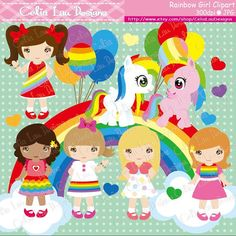 Rainbow Girl Clipart/ Cute pony and Rainbow by CeliaLauDesigns, $5.00
