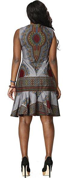 Shenbolen Woman African Print Dress Dashiki Traditional Dress Party Dresses (Medium, A) African Dresses For Kids, African Print Dresses, African Print Fashion, Africa Fashion, African Fashion Dresses, African Attire, African Wear, African Women, African Style