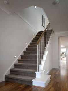 Dark Wood Floors Grey Walls Stairways 19 Ideas For 2019 Grey Carpet, Home, Carpet Design, Grey Hallway, Dark Wood Floors, Stairway Lighting, Carpet Stairs, Stairs Design, Stairs