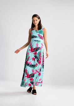 "comma. Jersey dress - aqua . Fit:tailored. Outer fabric material:100% poly amide. Our model's height:Our model is 71.0 "" tall and is wearing size 10. Pattern:floral. Care instructions:do not tumble dry,machine wash at 30°C,Mac..."