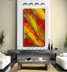 Red Abstract Painting Autumn Art Large Art by JuliaApostolova