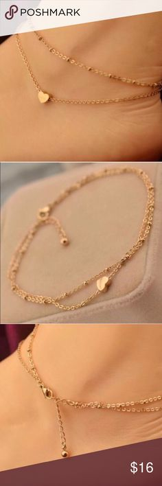 Gold anklet with tiny heart ❤️ charm New, never worn. Stunning gold plated, nickel free, anklet with a small heart ❤️ charm. Thank you for visiting my closet, please let me know if you have any questions. I offer great discounts on bundles.  lucy6mahon Jewelry Bracelets