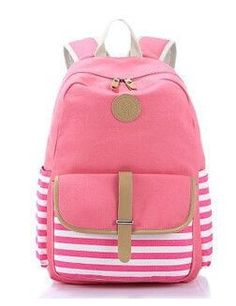 Quality Soft Canvas Stripe Print Multifunctional Backpack 4 Colors