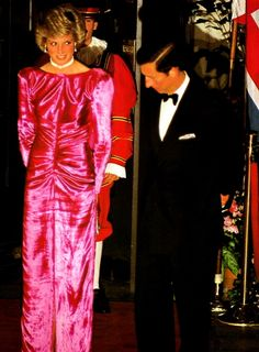 November 12, 1985: Prince Charles and Princess Diana at a benefit dinner at the Breakers Hotel in Palm Beach, Florida. The dinner is in honor of Dr. Armand Hammer, Chairman of the Board of Occidental Petroleum and honorary board chairman of Armand Hammer United World College.