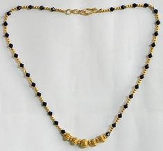Gold Plated Mangalsutra with Black Crystal Beads (Beads and Metal) Gold Mangalsutra Designs, Gold Earrings Designs, Gold Jewellery Design, Bead Jewellery, Beaded Jewelry, Gold Jewelry, Jewelery, Simple Jewelry, Designer Jewelry