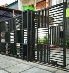 10 Cheap And Easy Unique Ideas: Modern Front Yard Fence fence architecture.Bamboo Fence And Gates. Steel Gate Design, Front Gate Design, Main Gate Design, House Gate Design, Door Gate Design, Fence Design, Window Grill Design Modern, Gate Designs Modern, Metal Gates