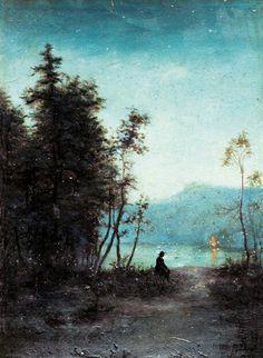Evening by Wladyslaw Podkowinski Landscape Art, Landscape Paintings, Watercolor Paintings, Watercolors, French Impressionist Painters, Encaustic Art, Pastel Art, Art Pages, Aesthetic Art