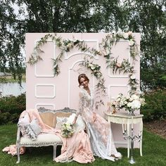 wedding photo backdrop idea, antique settee chair, elegant wedding decor, wedding dress with sleeves Wedding Photo Booth, Wedding Photos, Photowall Ideas, Deco Buffet, Wedding Ideias, Photo Zone, Photo Corners, Photo Booth Backdrop, Photo Booths
