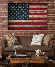 USA Flag Wood Canvas Wall Art