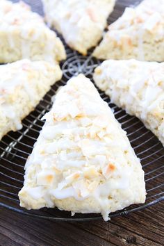 Toasted Coconut Lemon Scones Recipe on twopeasandtheirpod.com These scones are tender, light, and flaky! They are the perfect breakfast or brunch treat!