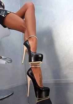 Gold platform heels!
