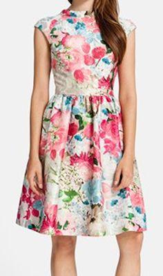 Beautiful print jacquard fit & flare dress http://rstyle.me/n/fpqrmnyg6