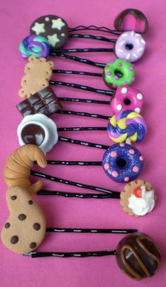 Hair bobby pin handmade of polymer clay by PinkFlamingoShop, $4.50