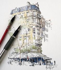 Pin by v. cantor on sketchbooks watercolor art, art sketchbook, art sketche Watercolor Architecture, Architecture Sketchbook, Art Sketchbook, Architecture Art, Classical Architecture, Pen And Watercolor, Watercolor Illustration, Art Sketches, Art Drawings