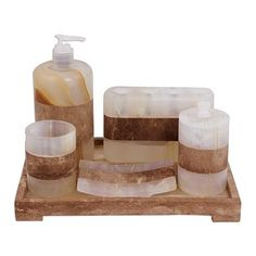 Onyx bath set, 'Nature's Bath' (6 piece set) - Multicolored 6 Piece Onyx Stone Bath Set from Mexico