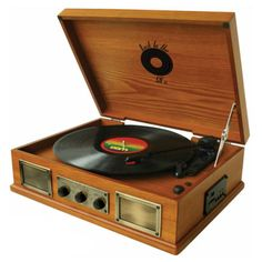3 Speed wooden turntable / record player features a 3.5 mm line-in jack, line-out jack and a sub woofer jack. #Turntable features USB/SD player port which allows it to connect to iPods and MP3 players. #recordplayer #vinyl