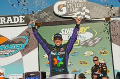 Denny Hamlin wins the Subway Fresh Fit 500 at Phoenix International Raceway on 3/4/12