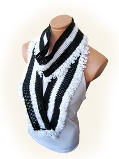 Black White 2012 trends scarf hand knit women by WomanStyleStore, $31.00