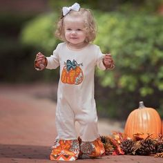 361b6591eee5 Look at this Brown   Orange Pumpkin Romper - Infant by AnnLoren