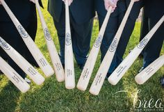 Great Groomsmen Gifts - Csutom Louisville Slugger Bats from SportsThemedWeddings.com  #baseballwedding  #stwdotcom