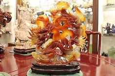 Beautiful Agate Carnelian Carving Phoenix and Dragon Hand Carved Sculpture