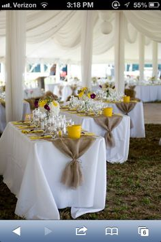 Burlap party - love the gathered ends of the runner