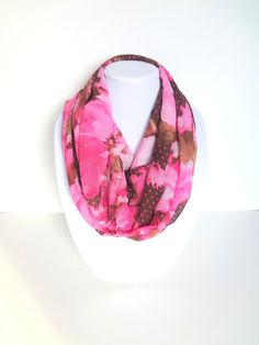 Pink Scarf Floral Infinity Scarf Spring Scarf by FashionelleStudio