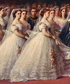 The Bridesmaids at the marriage of Princess Helena Augusta Victoria (1846-1923) UK to Prince Christian (Frederick Christian Charles Augustus) (1831-1917) Schleswig-Holstein, Germany by Christian Karl Magnussen. Helena was 5th Child of Queen Victoria (1819-1901) UK & Prince Albert (1819-1861) Saxe-Coburg and Gotha, Germany. Christian was 6th child of Christian August II (1798-1869) Duke of Augustenborg, Germany & Countess Lovisa-Sophie (1797–1867) Danneskjold-Samsøe, Denmark.