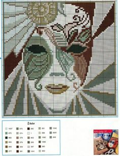 Mask x-stitch pattern Counted Cross Stitch Patterns, Cross Stitch Designs, Cross Stitch Embroidery, Embroidery Patterns, Seed Bead Projects, Cross Stitch Boards, Tapestry Crochet, Plastic Canvas Patterns, Le Point