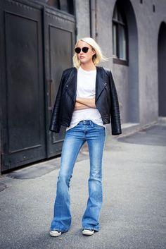 Ellen Claesson in Zara denim, Filippa K tee and Dagmar leather jacket - 14 June 2015