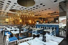 Harvey Nichols Fourth Floor Cafe   #interior #fitout by Cumberland Group, Interior Contractor, UK   #luxury #restaurant #interiorcontractor #interiorcontractors #interiorrefurbishment #joinery #retaildesign #restaurantdesign #ceiling #lighting #dining #bar