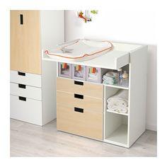 STUVA Table à langer à 3 tiroirs - blanc/motif bouleau  - IKEA