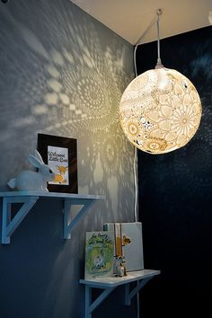 Doily Lamp | DIY Teen Room Decor Projects, see more at: http://diyready.com/diy-teen-room-decor-projects/