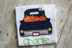 Denim Pumpkin Truck with Name Toddler Tee Shirt by amyloubaby