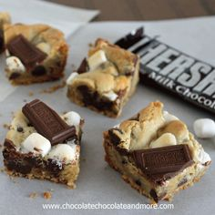 Smores Cookie Bars. Graham Cracker, Hersheys Chocolate and marshmallow wrapped up neatly in a bar